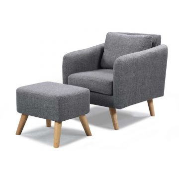 Longdon Lounge Fabric Armchair with Stool