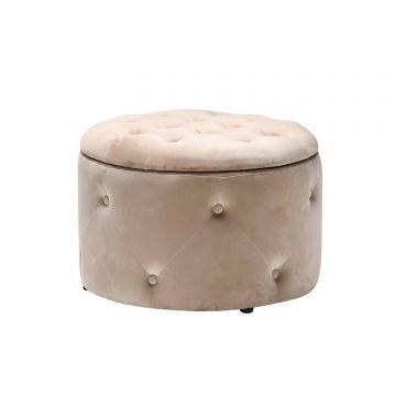 Cleo Velvet Button Ottoman