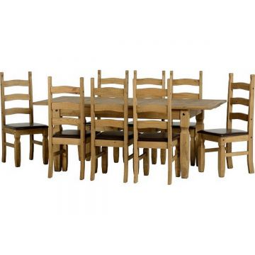 Corona Extendable Dining Table with 8 Chairs