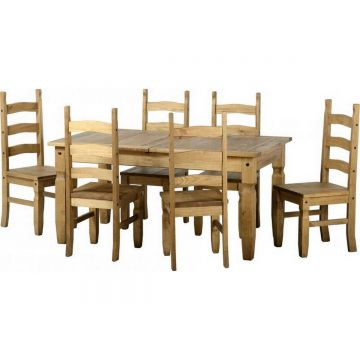 Corona Extendable Dining Table with 6 Chairs