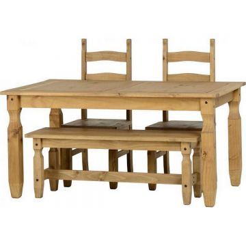 Corona 5ft Dining Table with 4ft Bench and 2 Dining Chairs