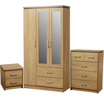 Charles Bedroom Set with 3 Door Wardrobe