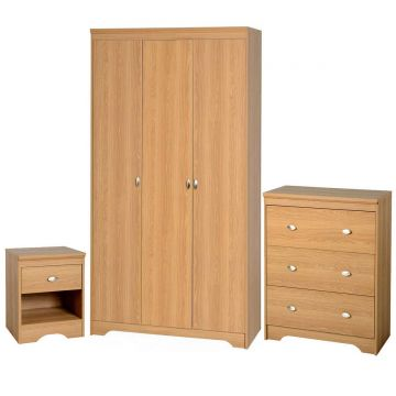 Regent 3 Door Wardrobe and 3 Drawer Chest Bedroom Set