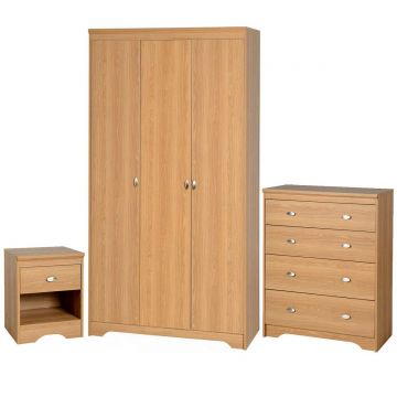 Regent 3 Door Wardrobe and 4 Drawer Chest Bedroom Set