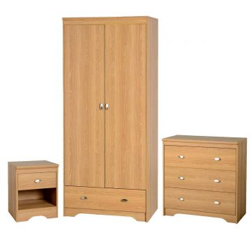 Regent 2 Door Wardrobe and 3 Drawer Chest Bedroom Set