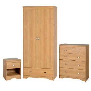Regent 2 Door Wardrobe and 3 Plus 2 Drawer Chest Bedroom Set