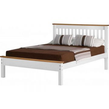 Monaco Low Foot End Bed - White / Distressed Waxed Pine