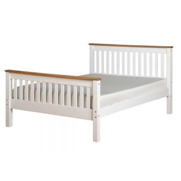 Monaco High Foot End Bed - White / Distressed Waxed Pine