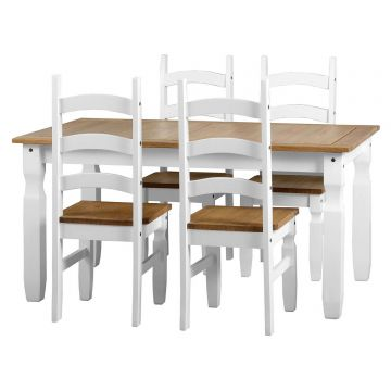 Corona Dining Table with 4 Chairs in White