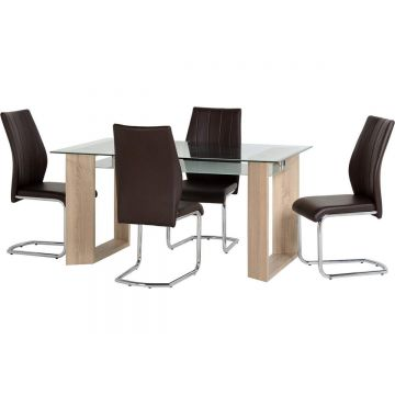 Milan Glass Top Dining Table with 4 Chairs