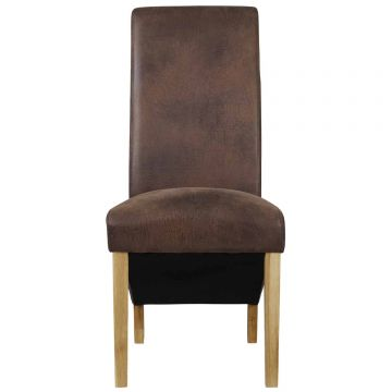Treviso Leather Dining Chair (Pair)-Brown
