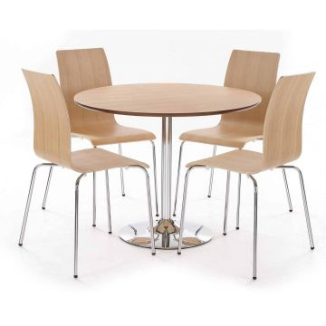 Soho Round Dining Table with 4 Chairs-Oak