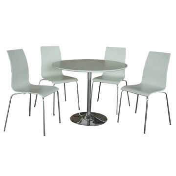 Soho Round Dining Table with 4 Chairs-White
