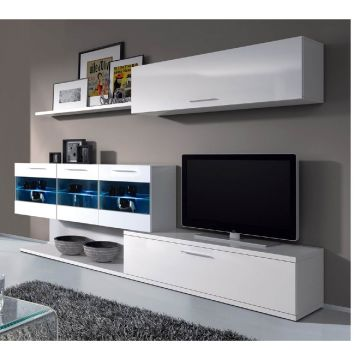 Aleena TV Stand & Wall Cabinet with Lights