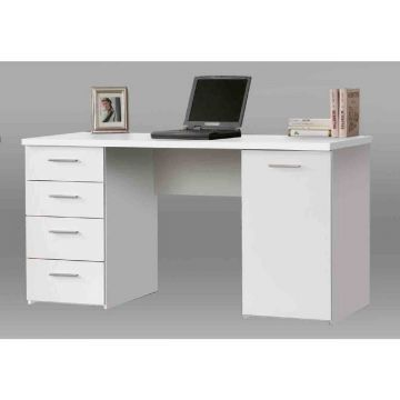 Pulton 4 Drawer Desk With Cupboard