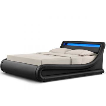Madrid LED Ottoman Leather Bed