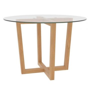 Valencia Glass Top Wooden Dining Table