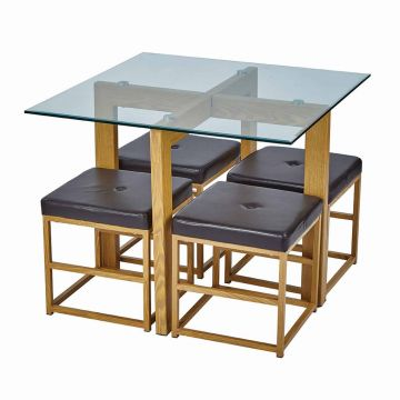 Cube Glass Top Wooden Dining Set