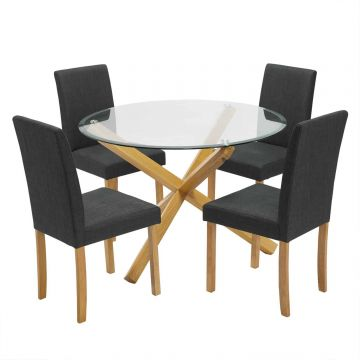 Oporto Dining Table with 4 Anna Dining Chairs