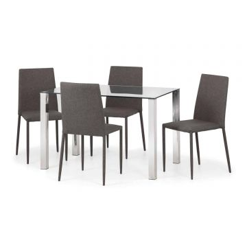 Enzo Glass Dining Set With 4 Jazz Slate Grey Chairs