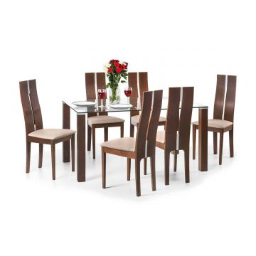 Cayman Glass Dining Set With 6 Chairs