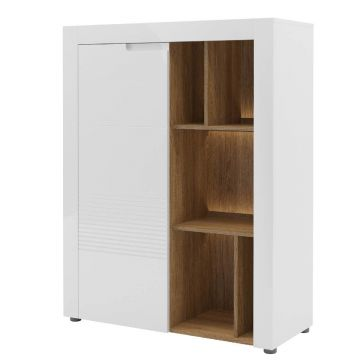 Belros Tall Sideboard with Bookcase