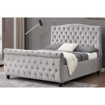 Hampton Velvet Sleigh Bed