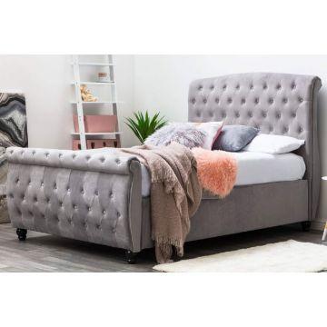 Hampton Velvet Side Ottoman Sleigh Bed