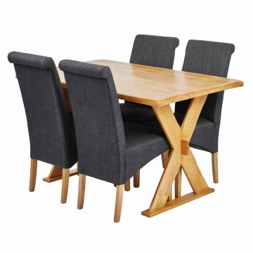 Seville Dining Table with 4 Amelia Chairs