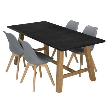 Brooklyn Wooden Table with 4 Louvre Chairs