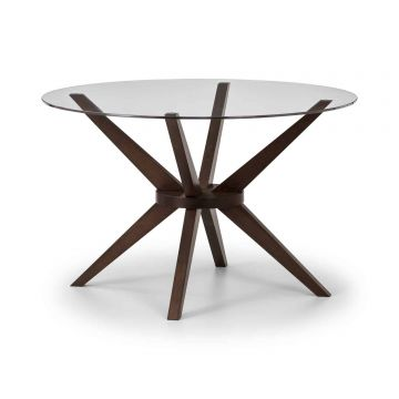 Chelsea Medium Round Wooden Glass Dining Table