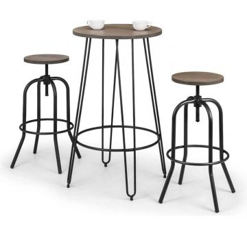 Dalston Round Bar Table with 2 Spitfire Stools