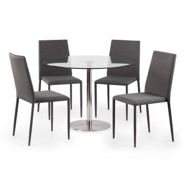 Milan Round Glass Dining Table with 4 Jazz Chairs