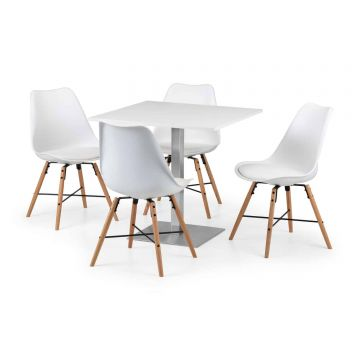 Pisa Square Pedestal Table with 4 Kari Chairs